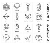 set of 16 icons such as fossil  ...