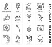 set of 16 icons such as plum ...