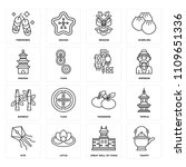 set of 16 icons such as teapot  ...