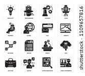 set of 16 icons such as video...