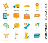 set of 16 icons such as cit...