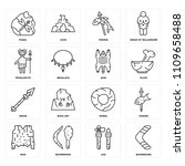 set of 16 icons such as... | Shutterstock .eps vector #1109658488
