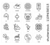 set of 16 icons such as fishes  ...