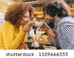 young couple having a breakfast ... | Shutterstock . vector #1109666555