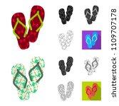 flip flops cartoon black flat... | Shutterstock .eps vector #1109707178