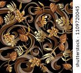 leafy floral modern 3d seamless ... | Shutterstock .eps vector #1109720045