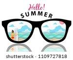 summer beach background with... | Shutterstock .eps vector #1109727818