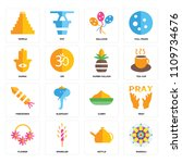set of 16 icons such as rangoli ...
