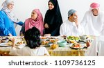 muslim family having a ramadan... | Shutterstock . vector #1109736125