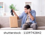 man receiving wrong parcel with ... | Shutterstock . vector #1109742842