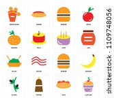set of 16 icons such as cupcake ...