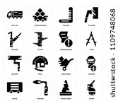set of 16 icons such as crane ...