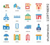 set of 16 icons such as... | Shutterstock .eps vector #1109748092