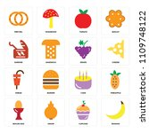 set of 16 icons such as banana  ...