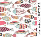seamless pattern with fishes....   Shutterstock .eps vector #1109753495