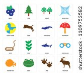 set of 16 icons such as mouflon ...