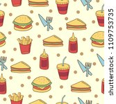 fast food doodle seamless... | Shutterstock .eps vector #1109753735