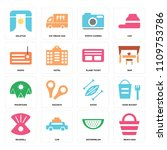 set of 16 icons such as beach...