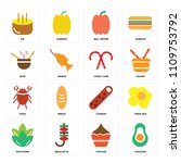 set of 16 icons such as avocado ...