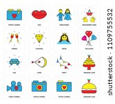set of 16 icons such as wedding ...