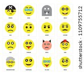 set of 16 icons such as smile ...