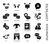 set of 16 icons such as chat ... | Shutterstock .eps vector #1109756702