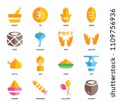 set of 16 icons such as coconut ...