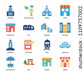 set of 16 icons such as library ... | Shutterstock .eps vector #1109757002