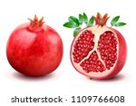 ripe pomegranates with leaves... | Shutterstock .eps vector #1109766608