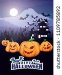 halloween background vector...   Shutterstock .eps vector #1109785892