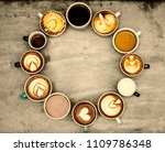 variety of cups with hot coffee   Shutterstock . vector #1109786348