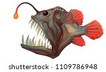 High Resolution Full Color Digital Painting of Stylized Angler Fish Illustration, Deep Sea Creature.