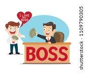 boss giving money salary to... | Shutterstock .eps vector #1109790305