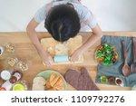 top view little girl cooks in... | Shutterstock . vector #1109792276