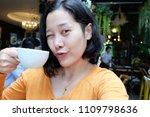 selfie asian woman  drinking...   Shutterstock . vector #1109798636