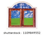 wooden windows with lawn and... | Shutterstock . vector #1109849552