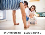 young family with a baby boy at ... | Shutterstock . vector #1109850452