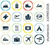 journey icons set with suitcase ... | Shutterstock .eps vector #1109851028