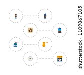 set of beverage icons flat... | Shutterstock .eps vector #1109867105
