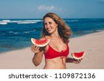 young woman in red bikini with... | Shutterstock . vector #1109872136