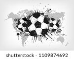 grunge abstract football with... | Shutterstock .eps vector #1109874692