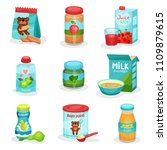 flat vector set of food and... | Shutterstock .eps vector #1109879615