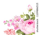 blooming rose garland on the... | Shutterstock .eps vector #1109886515