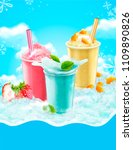 summer ice shaved takeout cup... | Shutterstock .eps vector #1109890826