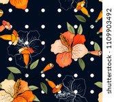 retro wild seamless flower... | Shutterstock .eps vector #1109903492