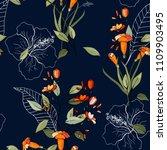 trendy seamless flower pattern. ... | Shutterstock .eps vector #1109903495