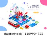 website order on mobile... | Shutterstock .eps vector #1109904722