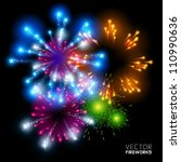 beautiful vector fireworks  on... | Shutterstock .eps vector #110990636