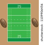 rugby field with ball   Shutterstock .eps vector #1109906456