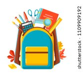 school backpack with education...   Shutterstock .eps vector #1109909192